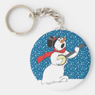 Banjo Snowman Key Ring
