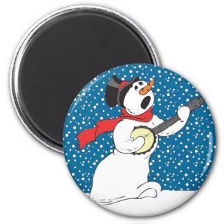 Banjo Snowman Magnet