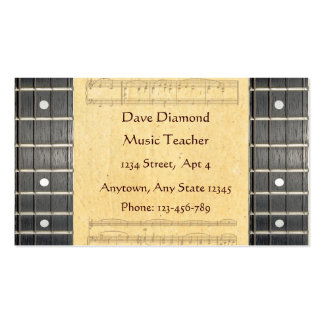 Banjo Strings Fretboard Sheet Music Business Cards Business Card