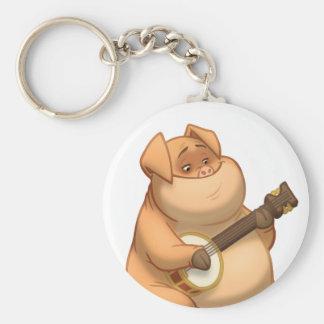Banjo-Strummin' Pig Keychain