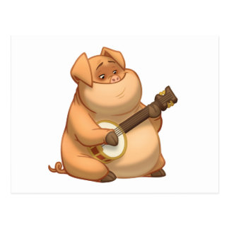 Banjo-Strummin' Pig Postcard