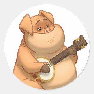 Banjo-Strummin' Pig Stickers