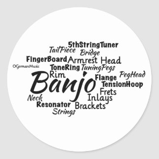 Banjo Word Cloud Black Text Classic Round Sticker