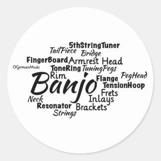 Banjo Word Cloud Black Text Round Sticker