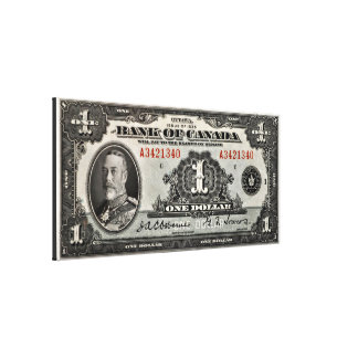 Bank of Canada One Dollar Canvas Print