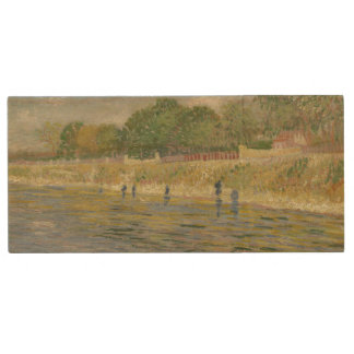 Bank of the Seine by Vincent Van Gogh Wood USB 2.0 Flash Drive