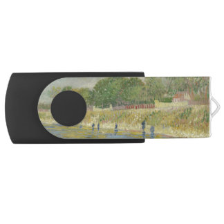 Bank of the Seine by Vincent Van Gogh Swivel USB 2.0 Flash Drive