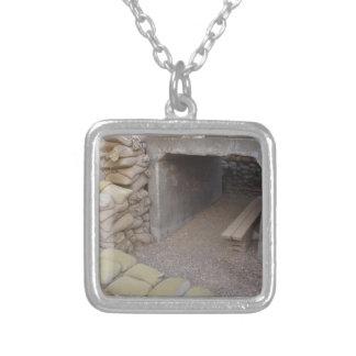 Banker sandbags protection square pendant necklace