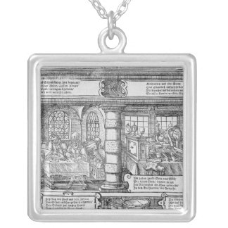 Banking Scene Silver Plated Necklace