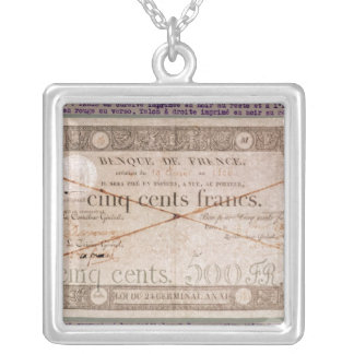 Banknote for 500 francs from the 24th Germinal Silver Plated Necklace