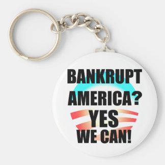 Bankrupt America? Basic Round Button Key Ring