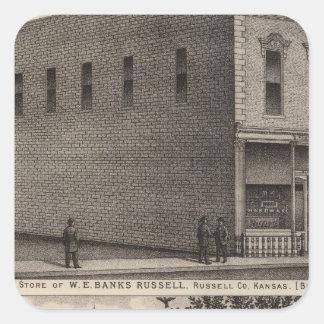 Banks Hardware, Russell Bank, Kansas Square Sticker