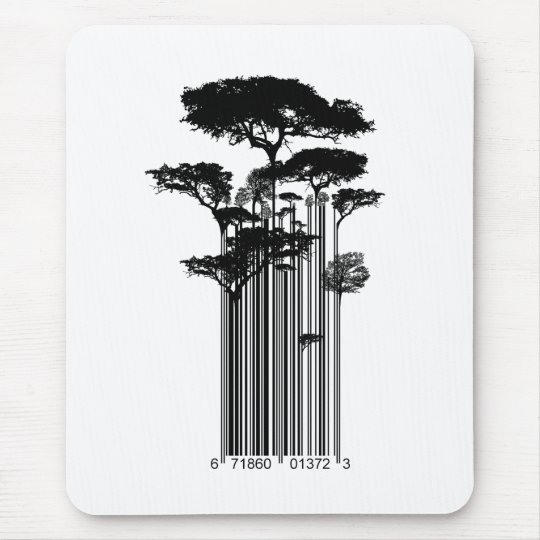 Banksy Style Barcode Trees illustration Mouse Mat