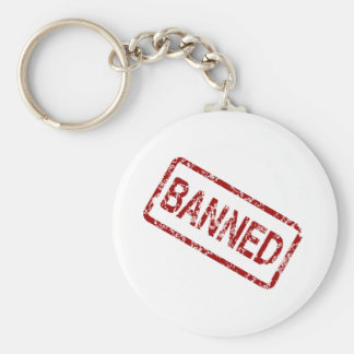 banned basic round button key ring