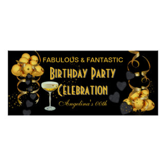 Banner Birthday Party Celebration Black Gold Poster