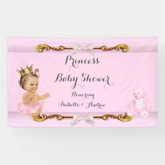 Banner Brunette Princess Baby Shower Pink Gold