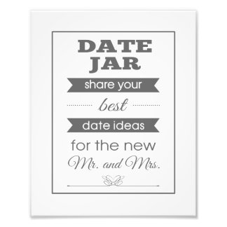 Banner Date Jar Wedding Sign Photo Print - Grey