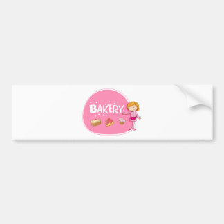 Banner design with baker and cake bumper sticker
