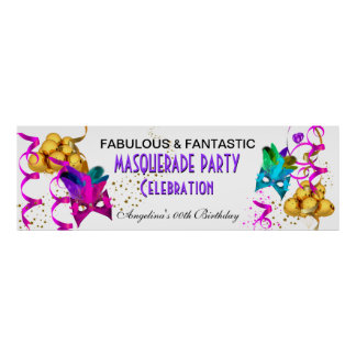 Banner MASQUERADE Birthday Party Multi Colored Poster