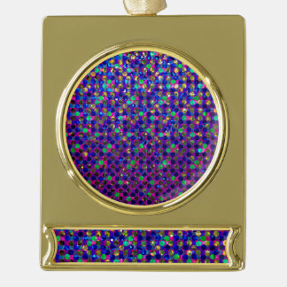 Banner Ornament Polka Dots Sparkley Jewels Gold Plated Banner Ornament