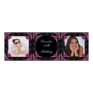 Banner Photo 00th Birthday Party Pink Black Poster