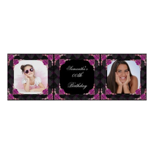 Banner Photo 00th Birthday Party Pink Black Posters