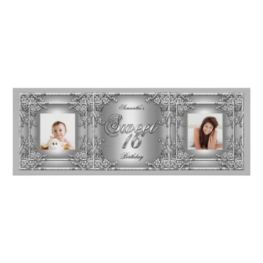 Banner Photo Sweet 16 Party Silver Floral Poster