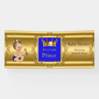 Banner Prince Baby Shower Blue Gold Brunette Baby