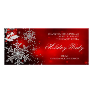 Banner Sparkle Snowflake Red Holiday Party Poster