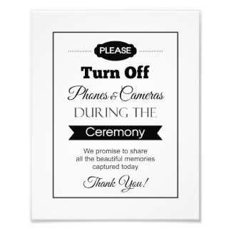 Banner Turn Off Phones and Cameras Wedding Sign Photo