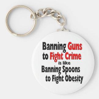 Banning Guns to fight crime... Basic Round Button Key Ring