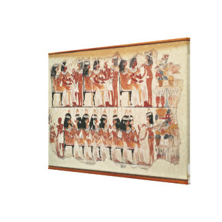 Banquet scene, from Thebes, c.1400 BC Canvas Print