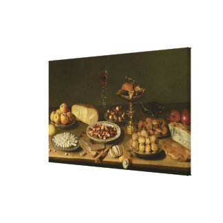 Banquet still life stretched canvas prints