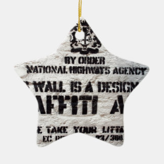 Bansky Designated Graffiti Area Ceramic Star Decoration