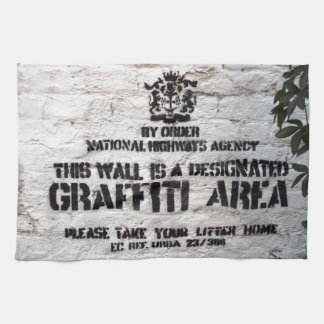 Bansky Designated Graffiti Area Tea Towel