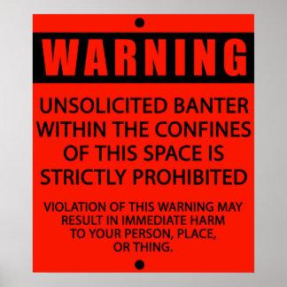BANTER WARNING_RED POSTER