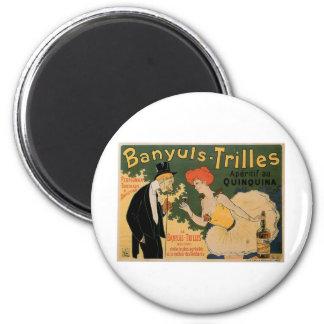 Banyuls Trilles Vintage Wine Drink Ad Art 6 Cm Round Magnet