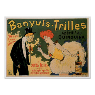Banyuls Trilles Vintage Wine Drink Ad Art Poster