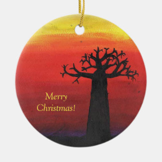 Baobab Christmas Tree Round Ceramic Decoration