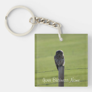 BAOW Barred Owl Single-Sided Square Acrylic Keychain