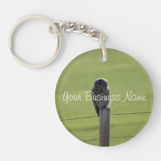 BAOW Barred Owl Single-Sided Round Acrylic Key Ring