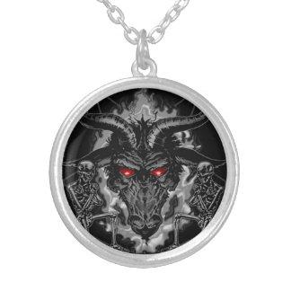 Baphomet Pentagram Black Metal Silver Plated Necklace