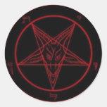 Baphomet Red Round Sticker Set