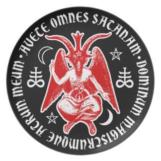 Baphomet with Satanic Crosses Pentagrams Plates
