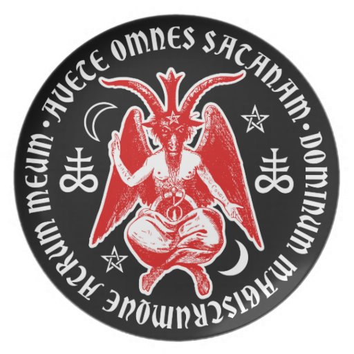 Baphomet with Satanic Crosses & Pentagrams Plates