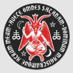 Baphomet with Satanic Crosses & Pentagrams Round Sticker