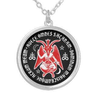 Baphomet with Satanic Crosses & Pentagrams Silver Plated Necklace