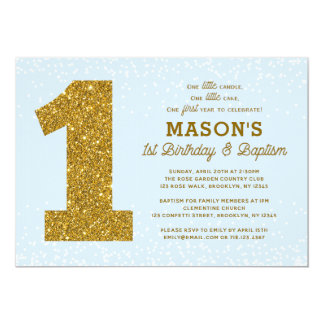 Baptism 1st Birthday Invitation Blue Gold Boy