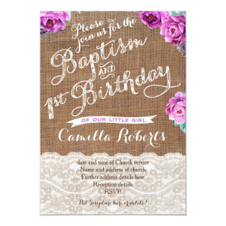 Baptism and First Birthday invites in lavender