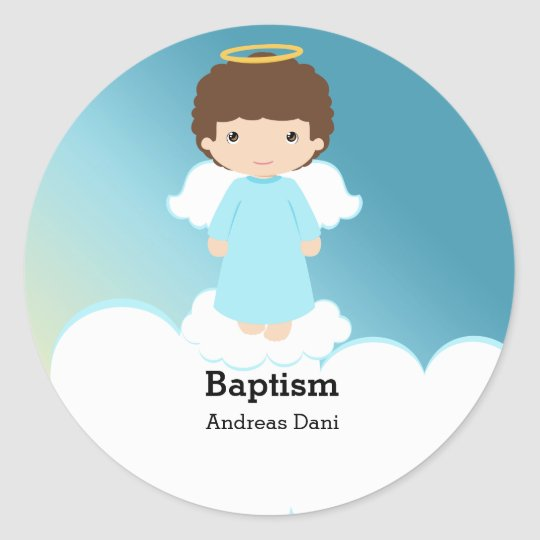 Baptism Angel Boy Classic Round Sticker